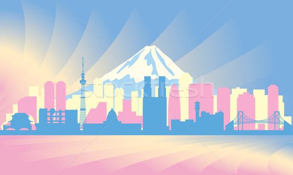 Токио вектора силуэта иллюстрация небе Сток-фото © Ray_of_Light