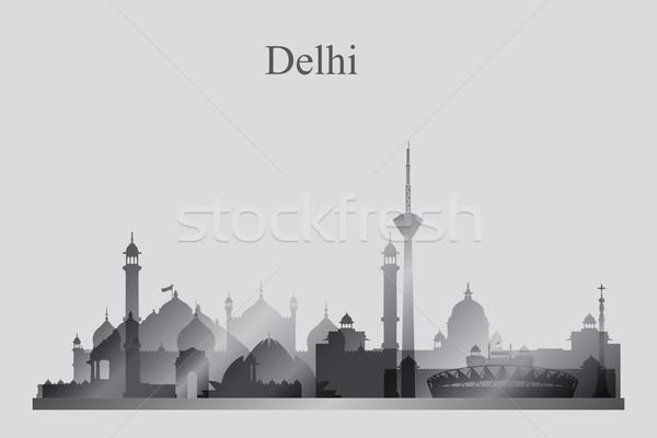 Delhi silhouette bâtiment Skyline architecture Photo stock © Ray_of_Light