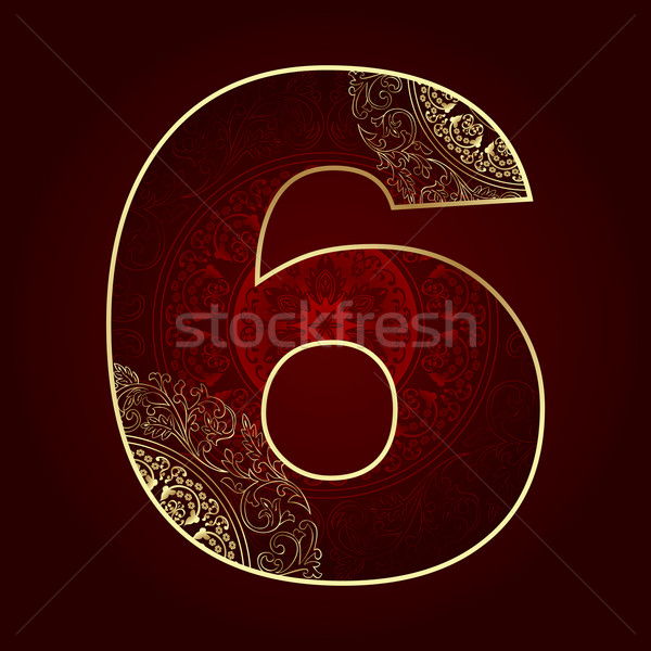 Vintage number 6 with floral swirls Stock photo © Ray_of_Light