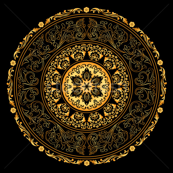 Decorative gold frame with vintage round patterns on black Stock photo © Ray_of_Light