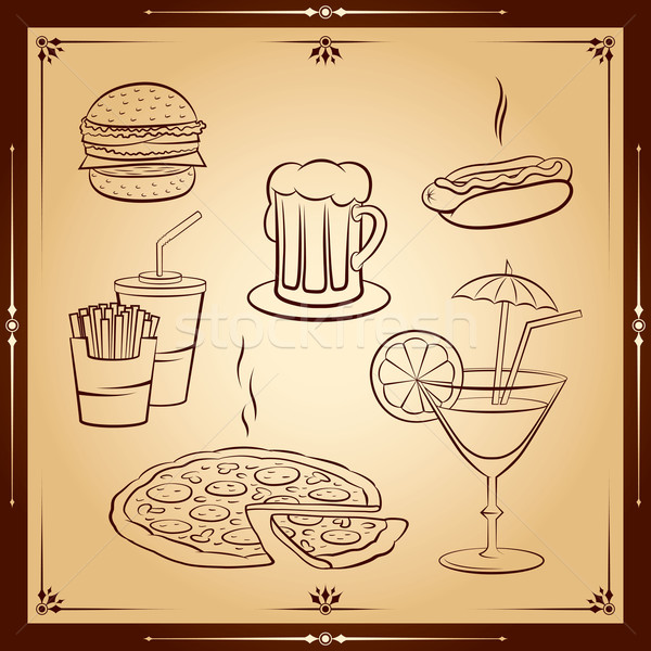 Stock fotó: Gyorsételek · ikon · gyűjtemény · pizza · háttér · művészet · étterem
