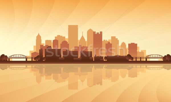 シルエット 建物 日の出 スカイライン ライト ストックフォト © Ray_of_Light