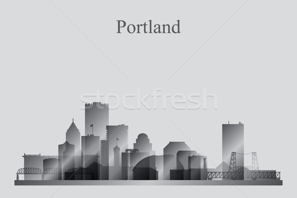 Portland city skyline silhouette in grayscale Stock photo © Ray_of_Light