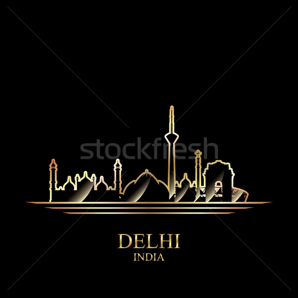 Or silhouette Delhi noir Skyline architecture Photo stock © Ray_of_Light