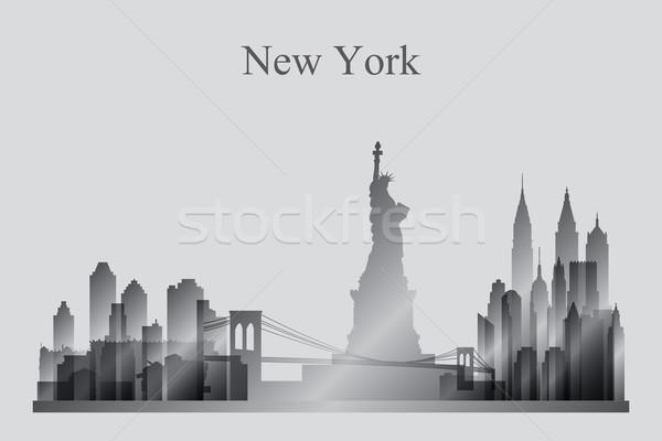 New York City linha do horizonte silhueta edifício arquitetura arranha-céu Foto stock © Ray_of_Light