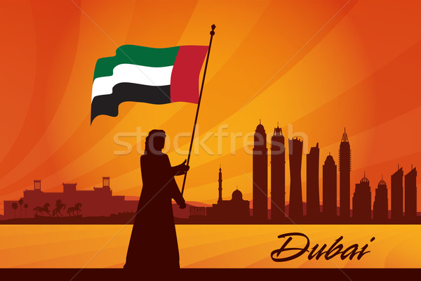 Dubai silhouette sole viaggio hotel Foto d'archivio © Ray_of_Light