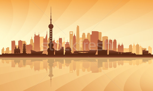Shanghai city skyline silhouette background Stock photo © Ray_of_Light