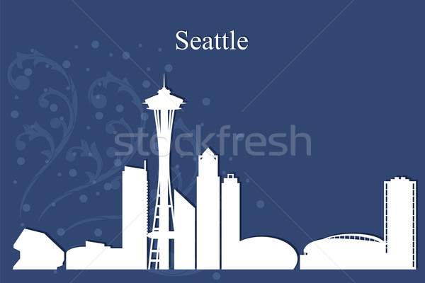 Seattle silhouet Blauw skyline architectuur Stockfoto © Ray_of_Light
