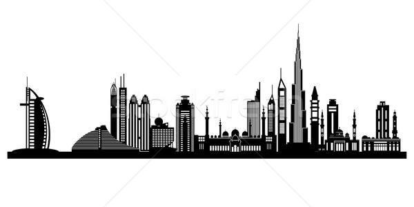 Stock fotó: Dubai · városkép · részletes · sziluett · égbolt · épület