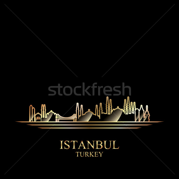 Gold silhouette of Istanbul on black background Stock photo © Ray_of_Light