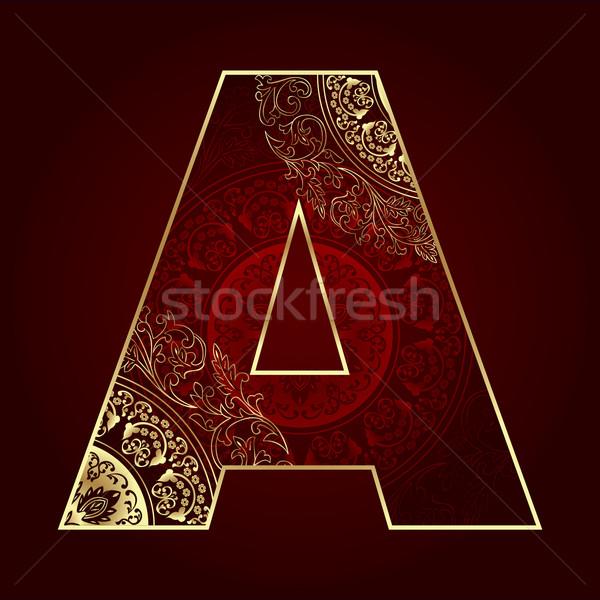 Stock fotó: Klasszikus · ábécé · virágmintás · örvények · levél · művészet
