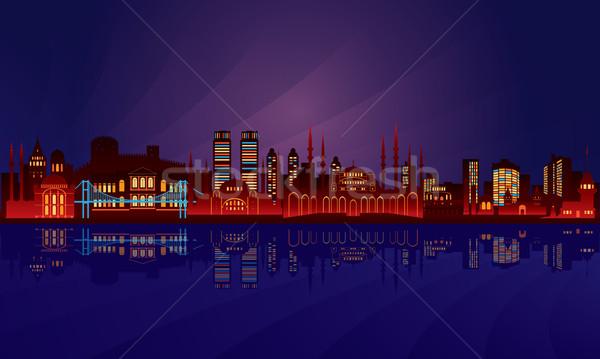 Istanbul Night City panoramę wektora sylwetka ilustracja Zdjęcia stock © Ray_of_Light