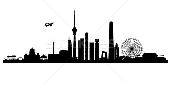 Peking városkép vektor sziluett illusztráció égbolt Stock fotó © Ray_of_Light
