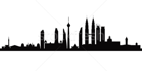 Kuala Lumpur vecteur silhouette illustration ciel Photo stock © Ray_of_Light
