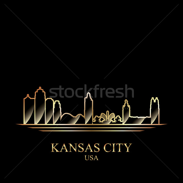 Goud silhouet Kansas stad zwarte gebouw Stockfoto © Ray_of_Light