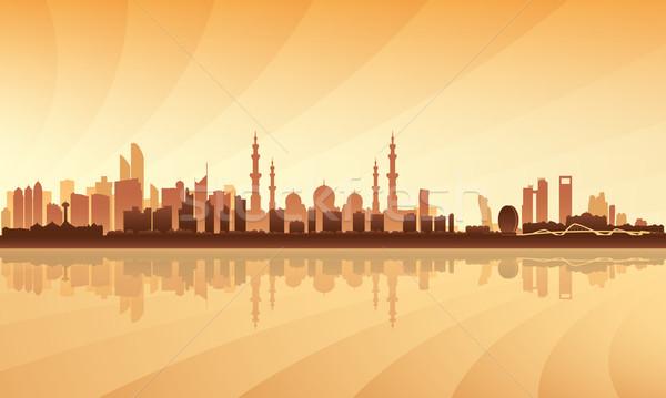 Abu Dhabi városkép sziluett égbolt épület utazás Stock fotó © Ray_of_Light