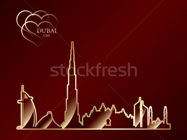 Oro silhouette Dubai rosso sfondo viaggio Foto d'archivio © Ray_of_Light