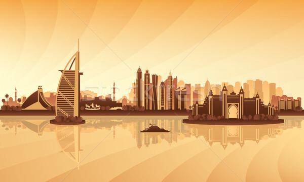 Dubai sziluett sziluett pálma utazás hotel Stock fotó © Ray_of_Light