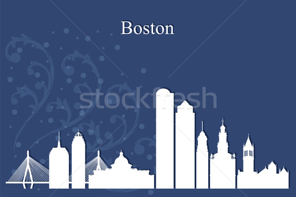 Boston silhouet Blauw hemel gebouw Stockfoto © Ray_of_Light