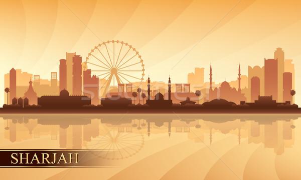 Sharjah city skyline silhouette background Stock photo © Ray_of_Light
