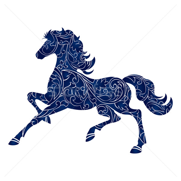 Symbol of Year 2014 blue horse, isolated icon, vector silhouette Stock photo © Ray_of_Light