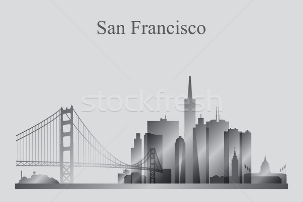 Stock photo: San Francisco city skyline silhouette in grayscale