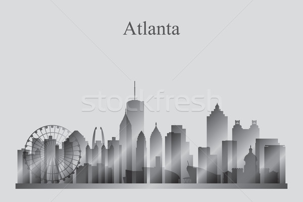 Atlanta city skyline silhouette in grayscale Stock photo © Ray_of_Light