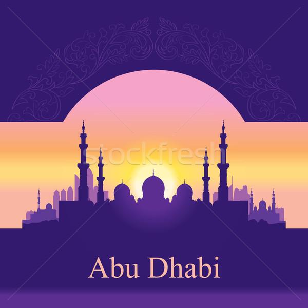 Абу-Даби Skyline силуэта мечети здании закат Сток-фото © Ray_of_Light