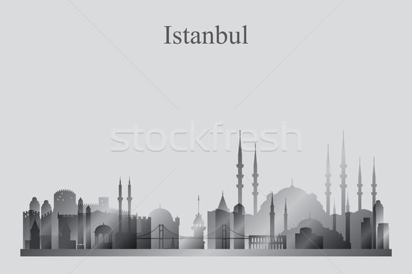 Isztambul városkép sziluett épület utazás sziluett Stock fotó © Ray_of_Light