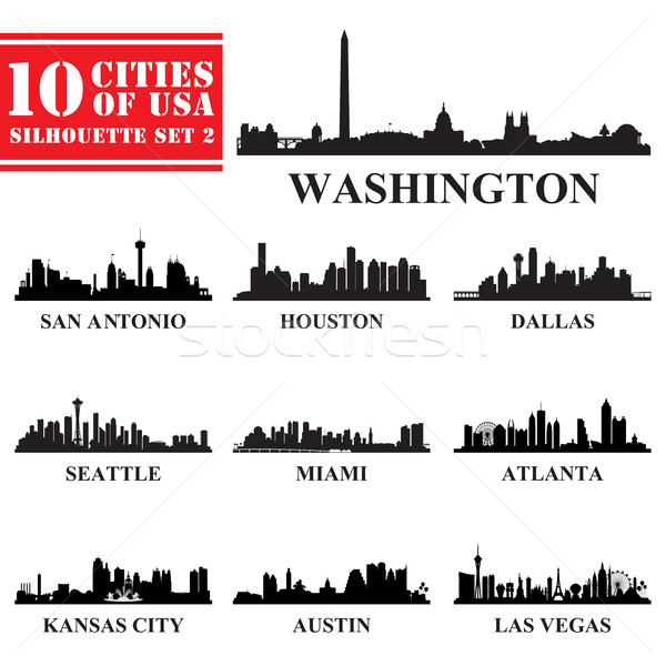 Silhouettes villes USA Voyage Skyline Photo stock © Ray_of_Light