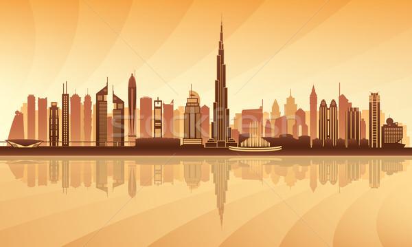 Dubai centro silhouette costruzione viaggio Foto d'archivio © Ray_of_Light