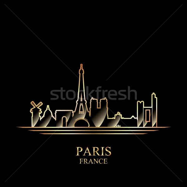 Arany sziluett Párizs fekete épület sziluett Stock fotó © Ray_of_Light