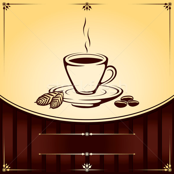Csésze kávéscsésze kávé levél étterem bár Stock fotó © Ray_of_Light