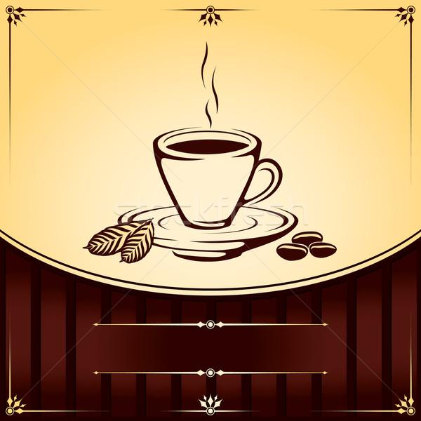 Taza taza de café café hoja restaurante bar Foto stock © Ray_of_Light