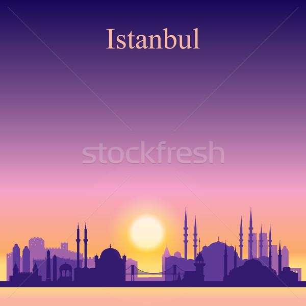 Istanbul city skyline silhouette on sunset background Stock photo © Ray_of_Light