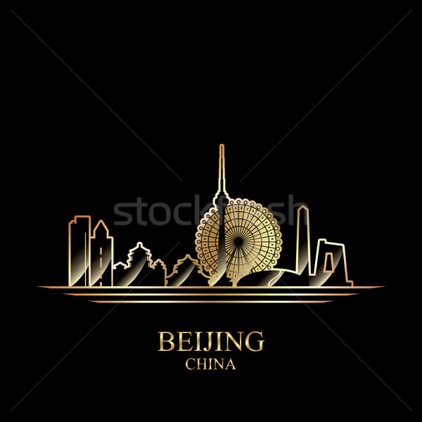 Gold silhouette of Beijing on black background Stock photo © Ray_of_Light