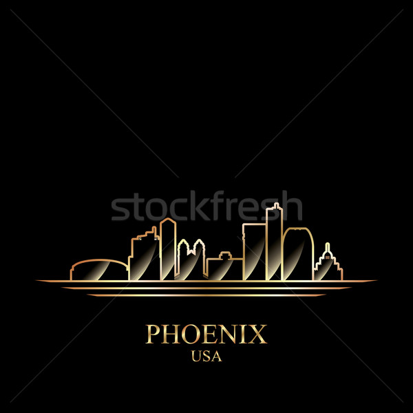 Goud silhouet phoenix zwarte skyline architectuur Stockfoto © Ray_of_Light