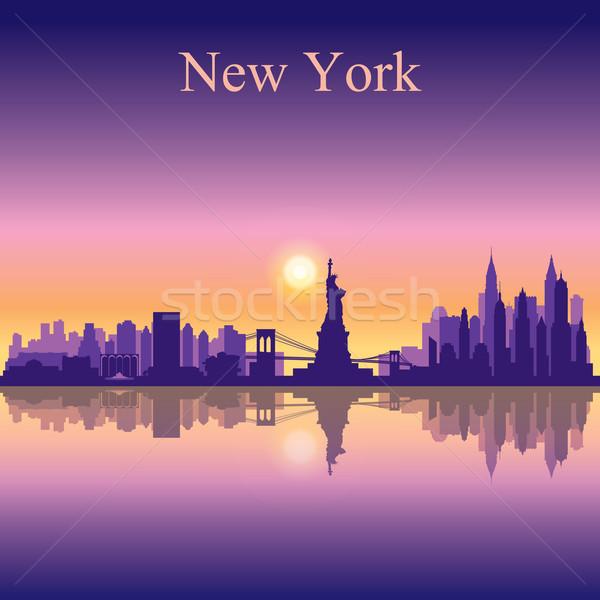 Stock fotó: New · York · sziluett · sziluett · épület · naplemente · napfelkelte