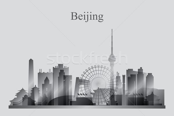 Stock fotó: Peking · városkép · sziluett · égbolt · iroda · épület