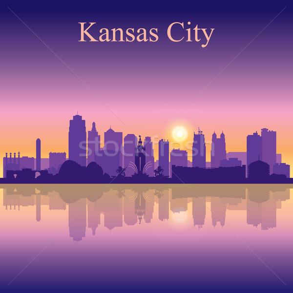 Kansas City silhouette on sunset background Stock photo © Ray_of_Light