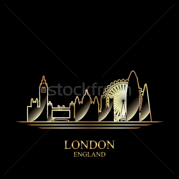 Or silhouette Londres noir Skyline architecture Photo stock © Ray_of_Light