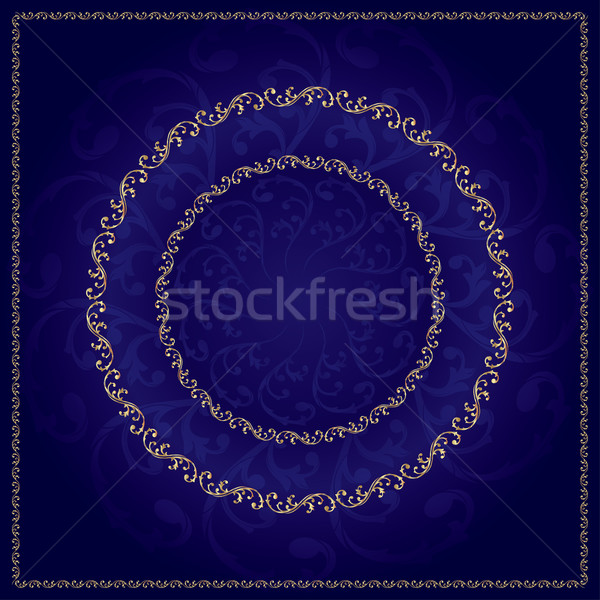 Oro marco vintage floral elementos vector Foto stock © Ray_of_Light