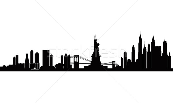 New York city skyline detailed silhouette Stock photo © Ray_of_Light