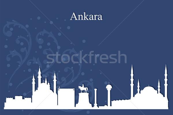 Ankara városkép sziluett kék épület naplemente Stock fotó © Ray_of_Light