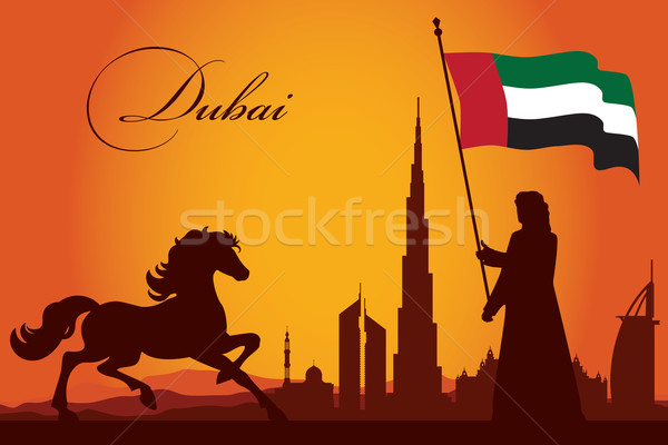 Dubai silhueta sol viajar hotel Foto stock © Ray_of_Light