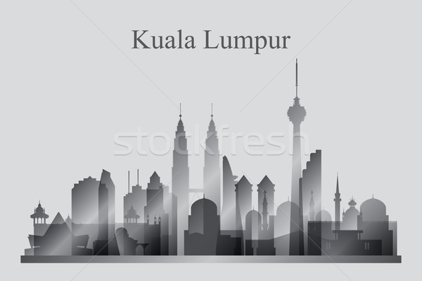 Kuala Lumpur city skyline silhouette in grayscale Stock photo © Ray_of_Light