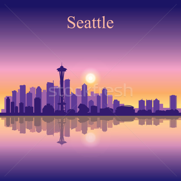Seattle silhouet gebouw zonsondergang zonsopgang Stockfoto © Ray_of_Light