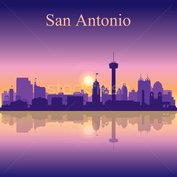 San Antonio silhouette on sunset background Stock photo © Ray_of_Light