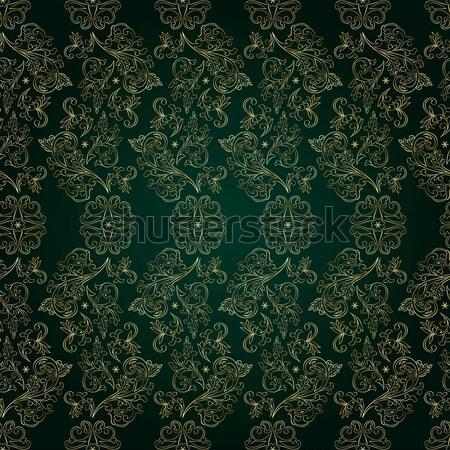 Virágmintás klasszikus végtelen minta zöld virág absztrakt Stock fotó © Ray_of_Light