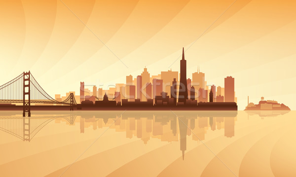 San Francisco city skyline silhouette background Stock photo © Ray_of_Light